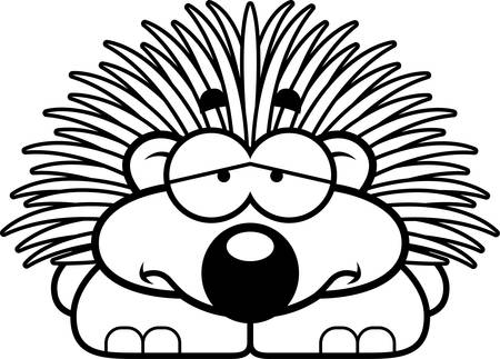 porcupine: A cartoon illustration of a little porcupine with a sad expression. Illustration