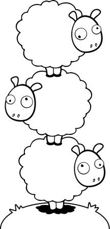 Three cartoon sheep stacked on top of each other.