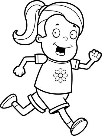 A happy cartoon girl running and smiling.