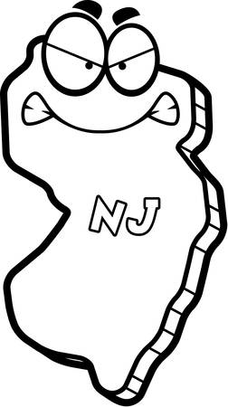jersey: A cartoon illustration of the state of New Jersey looking angry.