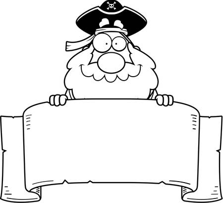 paper banner: A cartoon pirate with a paper banner. Illustration