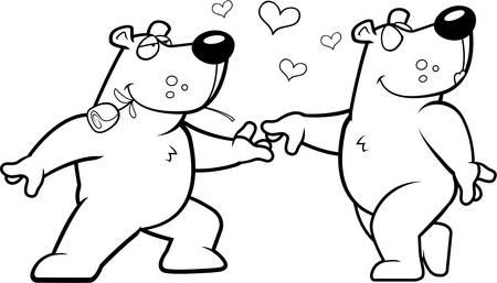 romance: Two happy cartoon bears in love with each other. Illustration