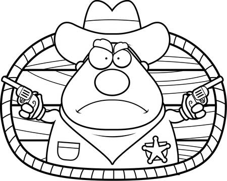 cowboy gun: A cartoon illustration of a sheriff with guns drawn. Illustration