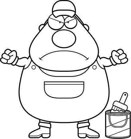 coveralls: A cartoon illustration of a painter looking angry. Illustration