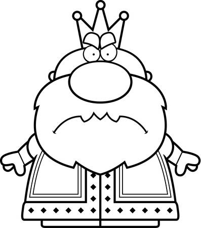 guy standing: A cartoon illustration of a king looking angry.