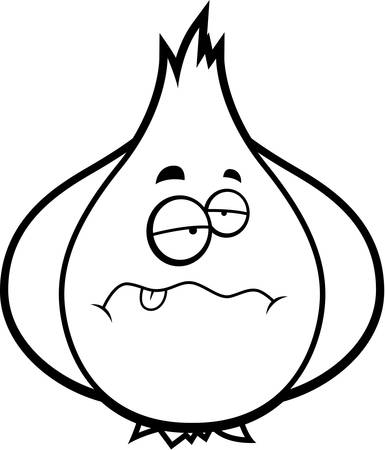 A cartoon illustration of a garlic bulb looking sick.