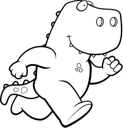 A happy cartoon dinosaur running and smiling.