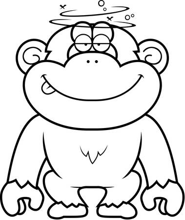 stupid: A cartoon illustration of a stupid chimpanzee. Illustration