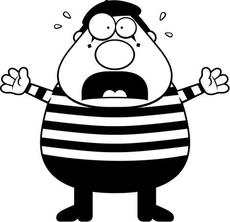 A cartoon illustration of a mime with a panicked expression.