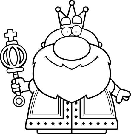scettro: Un fumetto illustrazione di un re con uno scettro.