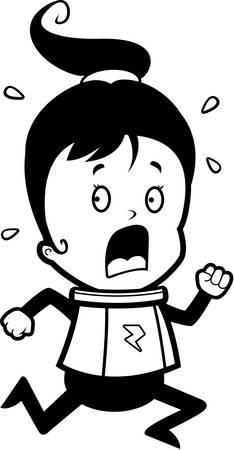 flee: A cartoon child astronaut running in a panic. Illustration