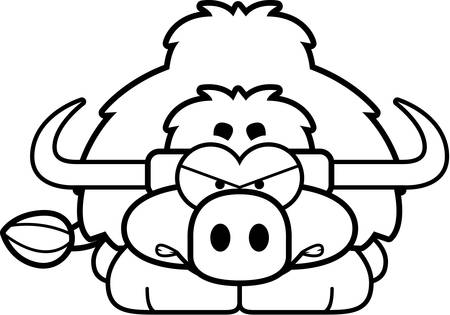 A cartoon illustration of a little yak with an angry expression. 向量圖像