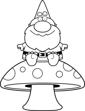 Een cartoon illustratie van een kabouter op een paddestoel.