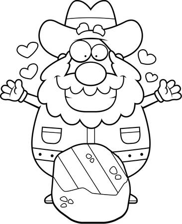 Een happy cartoon prospector met een gold nugget.