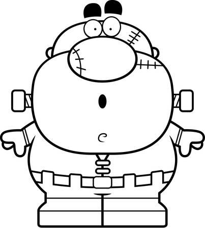 cartoon frankenstein: A cartoon illustration of a Frankenstein monster looking surprised.