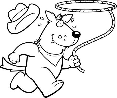 lasso: A happy cartoon rodeo wolf running with a lasso.