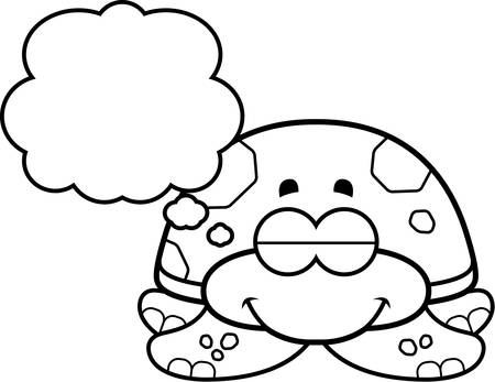 sea turtle: A cartoon illustration of a little sea turtle dreaming.