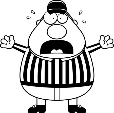 A cartoon referee with a scared expression.