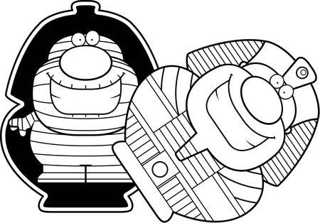 A cartoon illustration of a mummy in a sarcophagus.