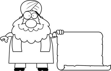 sikh: A cartoon illustration of a Sikh with a sign. Illustration