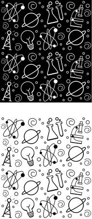 A seamless repeating cartoon pattern with a science theme.