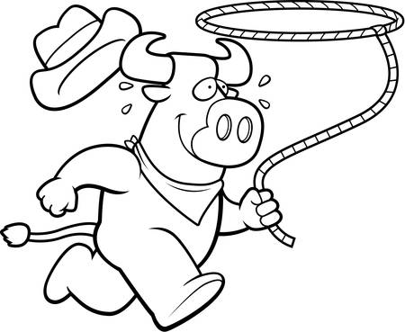 rancher: A happy cartoon rodeo bull running with a lasso. Illustration
