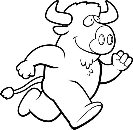A happy cartoon buffalo running and smiling.