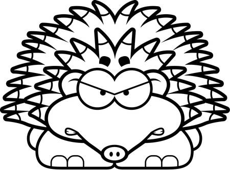 spines: A cartoon illustration of a little hedgehog with an angry expression. Illustration