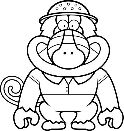 A cartoon illustration of a baboon in a safari outfit and pith.