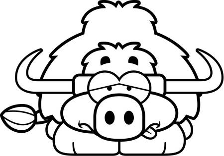 nauseous: A cartoon illustration of a little yak looking sick.