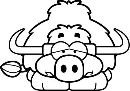 yak: A cartoon illustration of a little yak with a sad expression.