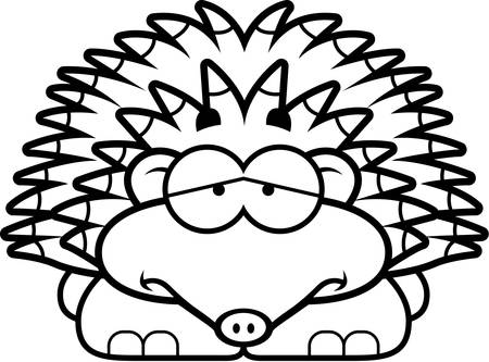 A cartoon illustration of a little hedgehog with a sad expression. Иллюстрация