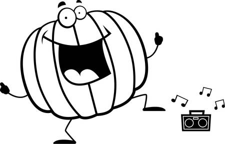 A happy cartoon pumpkin dancing and smiling.