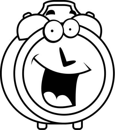 A cartoon alarm clock happy and smiling.