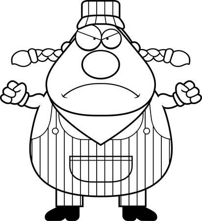 zug cartoon: Eine Karikatur Zugf�hrer suchen w�tend.