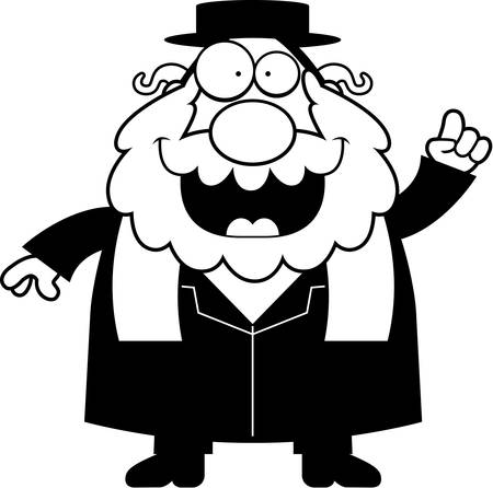 religious clothing: A cartoon illustration of a rabbi with an idea. Illustration