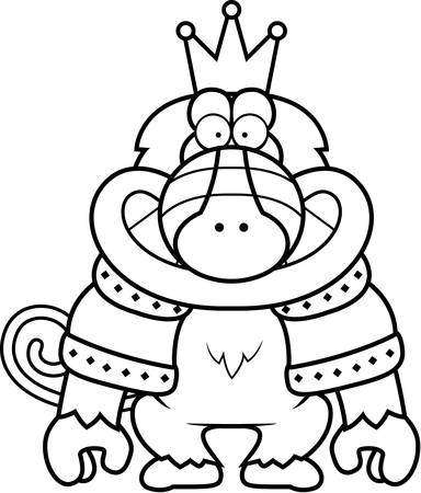 robes: A cartoon illustration of a baboon king with a crown and robes.