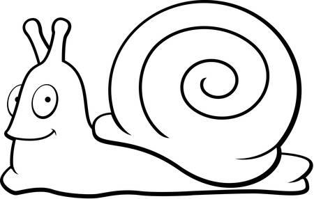 만화 오렌지 달팽이 미소와 행복입니다.