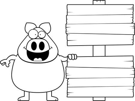 A cartoon illustration of a pig with a wood sign.