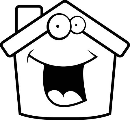 small house: A cartoon small house happy and smiling.