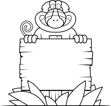 mandril: A cartoon illustration of a baboon with a wooden sign.