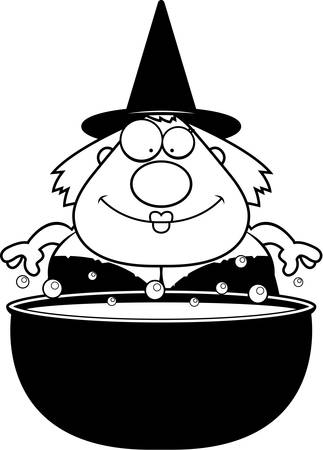 bubbling: A cartoon illustration of a witch with a bubbling cauldron.