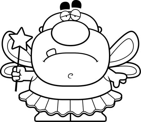 tooth fairy: A cartoon illustration of a tooth fairy looking sad. Illustration