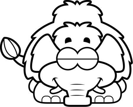woolly: A cartoon illustration of a little mammoth sleeping. Illustration