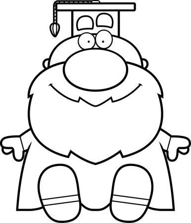 A cartoon illustration of a professor sitting. Ilustração