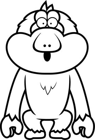 macaque: A cartoon illustration of a Japanese macaque looking surprised.