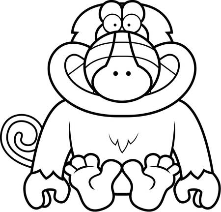 smilling: A cartoon illustration of a baboon sitting.