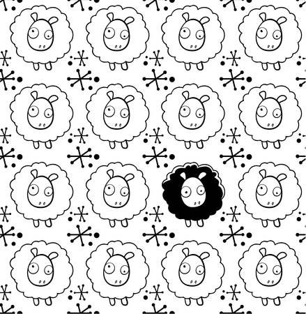 oddball: A seamless repeating cartoon pattern with a sheep theme.