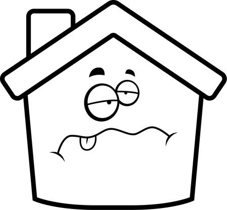 A cartoon house with a sick expression.