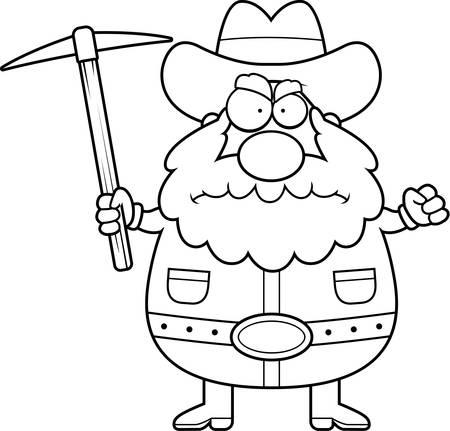 Een cartoon prospector met een boze uitdrukking.